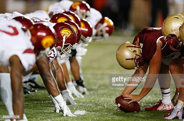 The USC Trojans and the Boston College Eagles line up at the line of scrimmage during the second half of BC's 3731 win at Alumni Stadium on September...