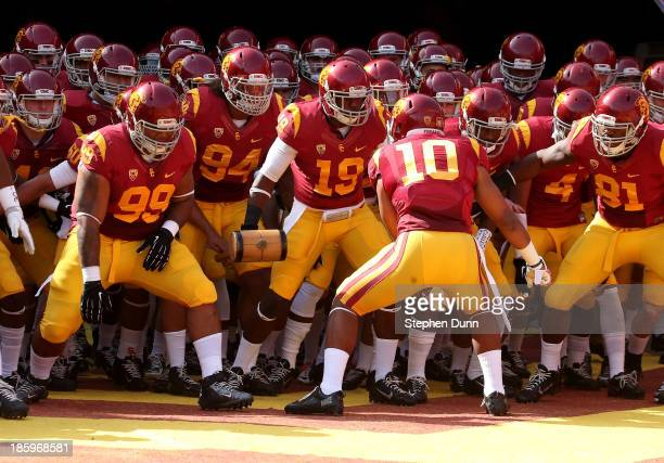 The USC Trojans get ready to run out of the tunnel for the game with the Utah Utes at Los Angeles Coliseum on October 26 2013 in Los Angeles...