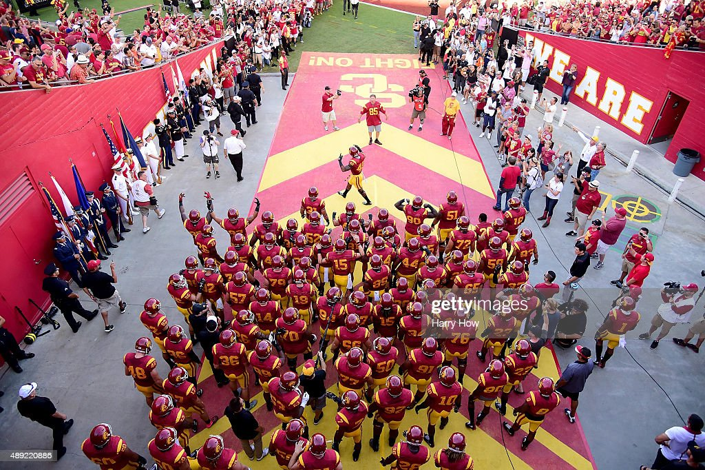 The USC Trojans prepare to take the field before the game against the Stanford Cardinal at Los Angeles Coliseum on September 19 2015 in Los Angeles...