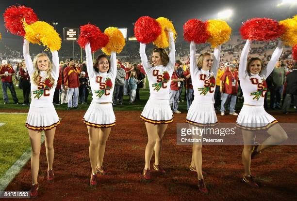 The USC Trojans song girls perform after the 95th Rose Bowl Game against the Penn State Nittany Lions at the Rose Bowl on January 1 2009 in Pasadena...