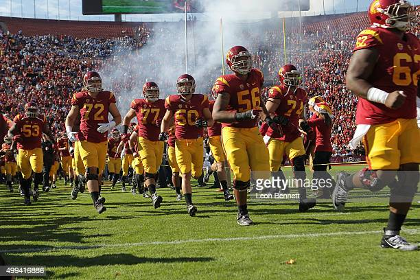The USC Trojans take to the field against the UCLA Bruins in a NCAA PAC12 college football game at Los Angeles Memorial Coliseum on November 28 2015...