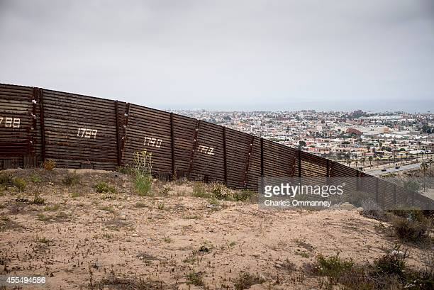 The USMexico border fence overlooking Tijuana Mexico on May 27 2014 near San Diego California
