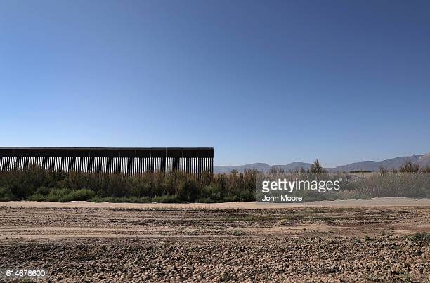 The USMexico border fence stops while passing through farmland on October 14 2016 near Fort Hancock Texas Throughout vast stretches of West Texas the...