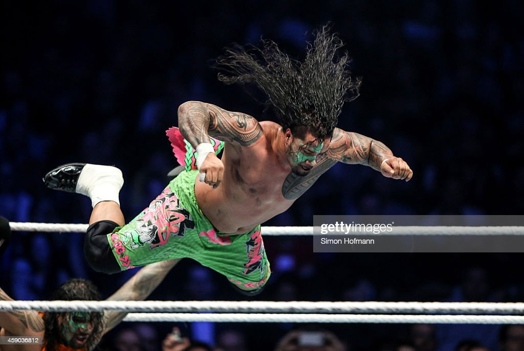 The Usos fight during WWE Live 2014 at Festhalle on November 15 2014 in Frankfurt am Main Germany