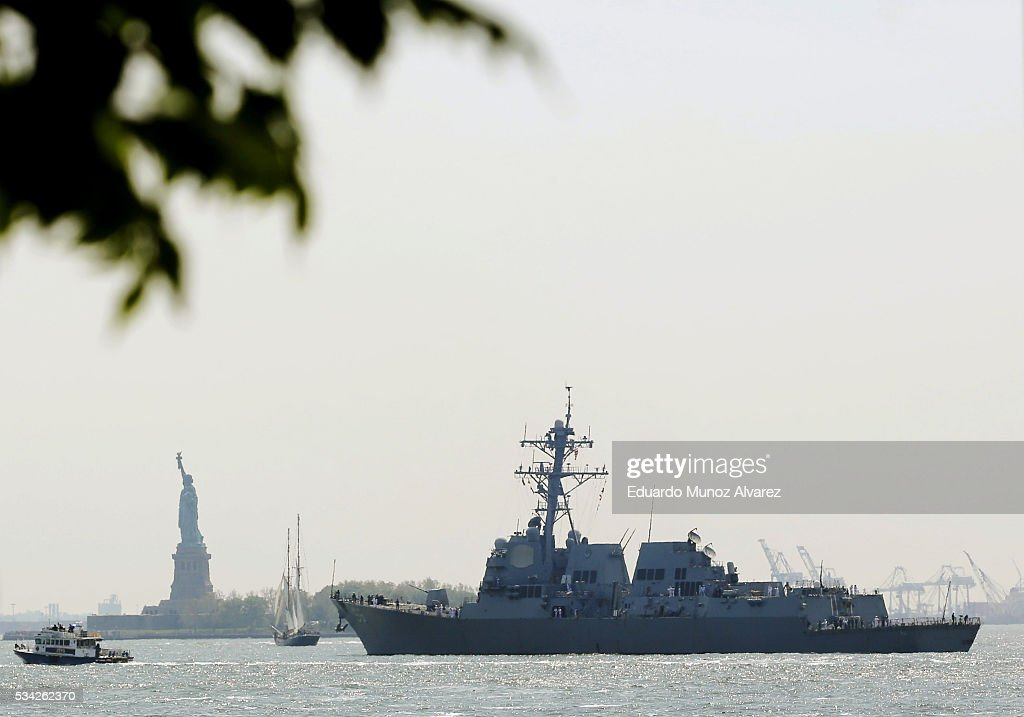 The USS Bainbridge (DDG 96) sales the Hudson river after arriving in New York Harbor for Fleet Week on May 25, 2016 in New York City. Nearly 4,500 Sailors, Marines and Coast Guardsmen will participate during Fleet Week New York (FWNY) this year. General public ship tours will be conducted daily throughout the week in Manhattan, Brooklyn and Staten Island.