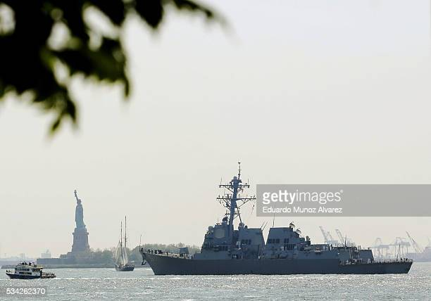 The USS Bainbridge sales the Hudson river after arriving in New York Harbor for Fleet Week on May 25 2016 in New York City Nearly 4500 Sailors...