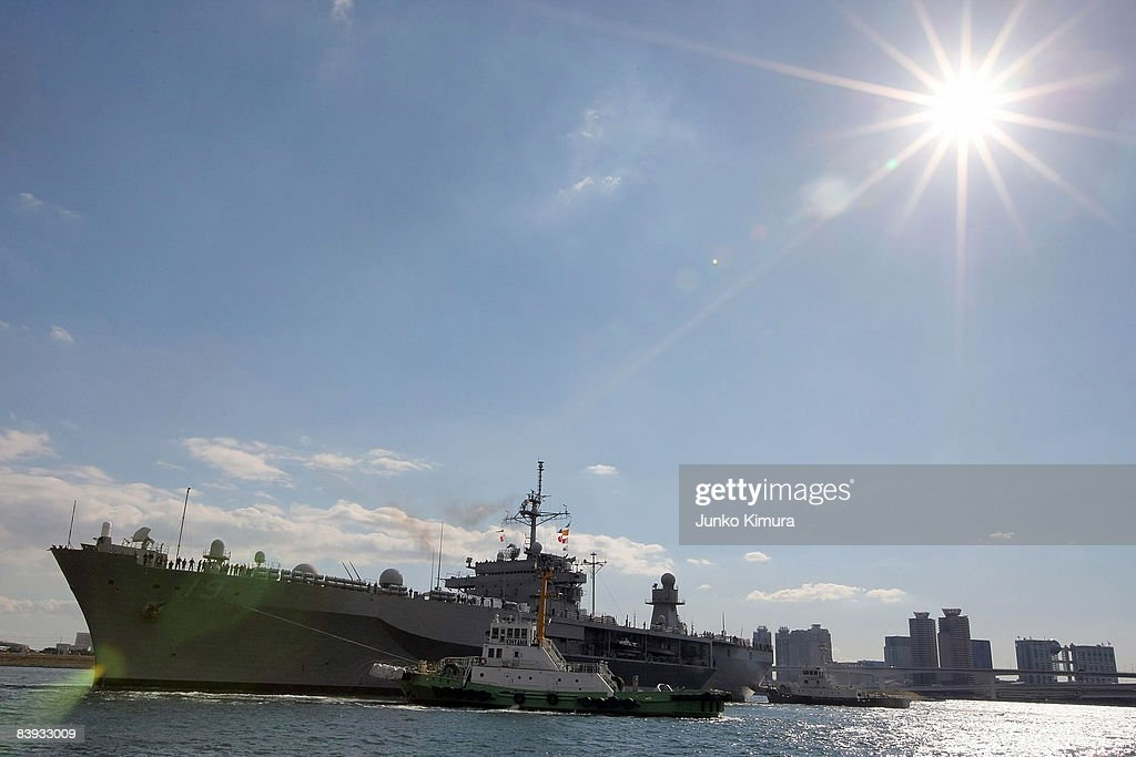 The USS Blue Ridge approaches Harumi Pier on December 6, 2008 in Tokyo, Japan. The warship, which was commissioned on November 14, 1970, has been forward deployed at Yokosuka Naval Base since October 1979.