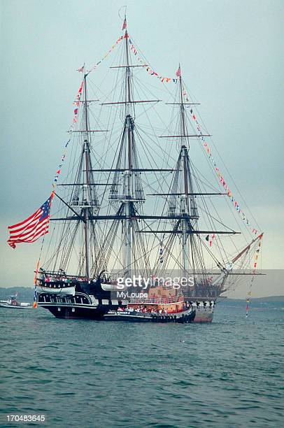 The USS CONSTITUTION called Old Ironsides because bullets could not penetrate her tough oak sides 44gun frigate built at the Edmond Hartt Shipyard...