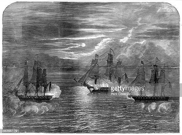 The 'USS Constitution' capturing the 'Cyane' and 'Levant' On 20 February 1815 the Constitution overcame the British ships Cyane and Levant Engraving...
