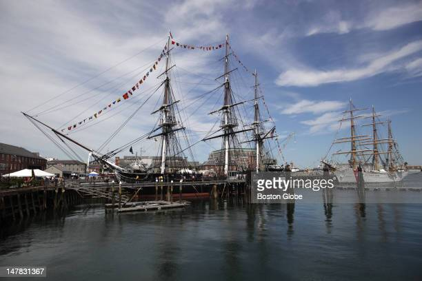 The USS Constitution nicknamed 'Old Ironsides' during the War of 1812 because of its victories against the British is docked at the Boston Navy Yard...