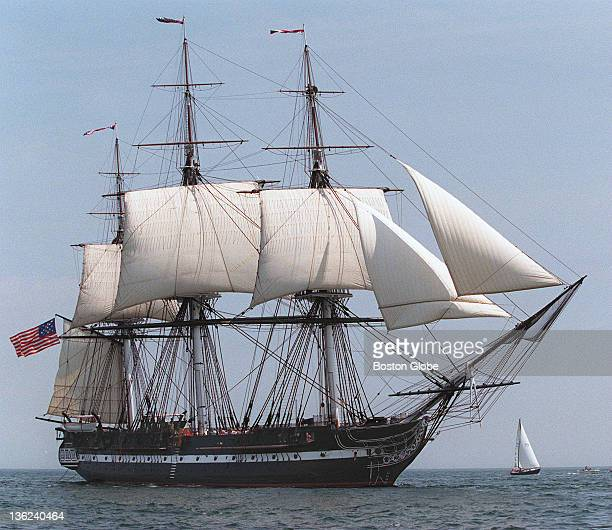 The USS Constitution sails under wind power for the first time in 116 years on Tuesday about seven miles out of Boston Harbor The ship was connected...