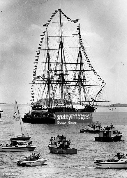 The USS Constitution turns around near Castle Island in Boston on July 4 1981