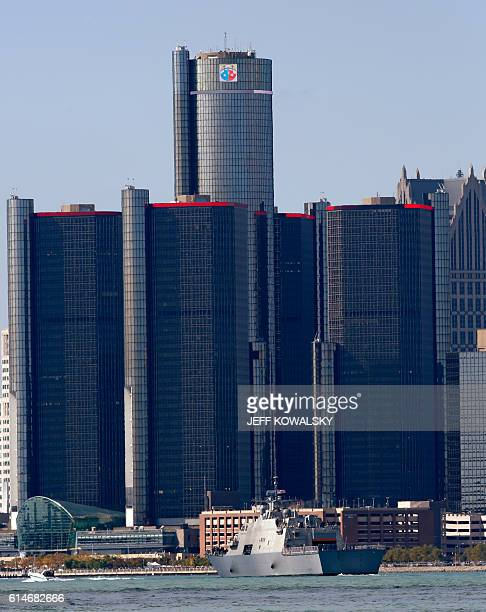 The USS Detroit docked in by the Renaissance Center on the Detroit River in Detroit Michigan on October 14 2016 as seen from Windsor Canada The USS...