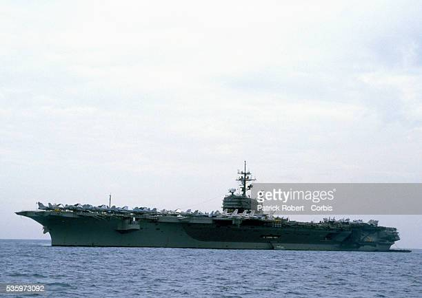 The USS John F Kennedy aircraft carrier patrols the Mediterranean Sea after the American armed forces sent troops into the port of Haifa The United...
