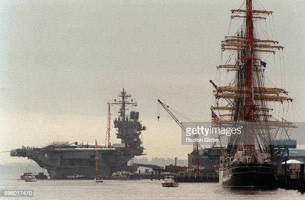 The USS John F Kennedy and the Kruzenshtern from Russia during Sail Boston on July 16 2000