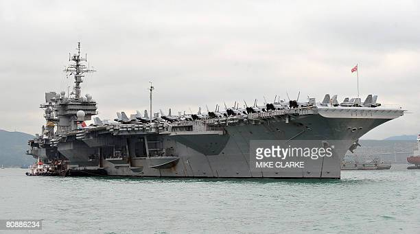 The USS Kitty Hawk is pictured in Hong Kong on April 28 2008 The battle carrier group made its first stop in Hong Kong since it was denied access by...