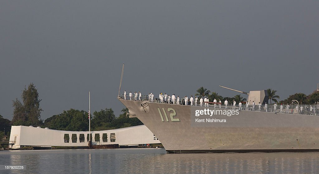 THe USS Michael Murphy performs a pass in review near the USS Arizona Memorial during the 71st Annual Memorial Ceremony commemorating the WWII Attack On Pearl Harbor at the World War 2 Valor in the Pacific National Monument December 7, 2012 in Pearl Harbor, Hawaii. This is the 71st anniversary of the Japanese attack on Pearl Harbor.