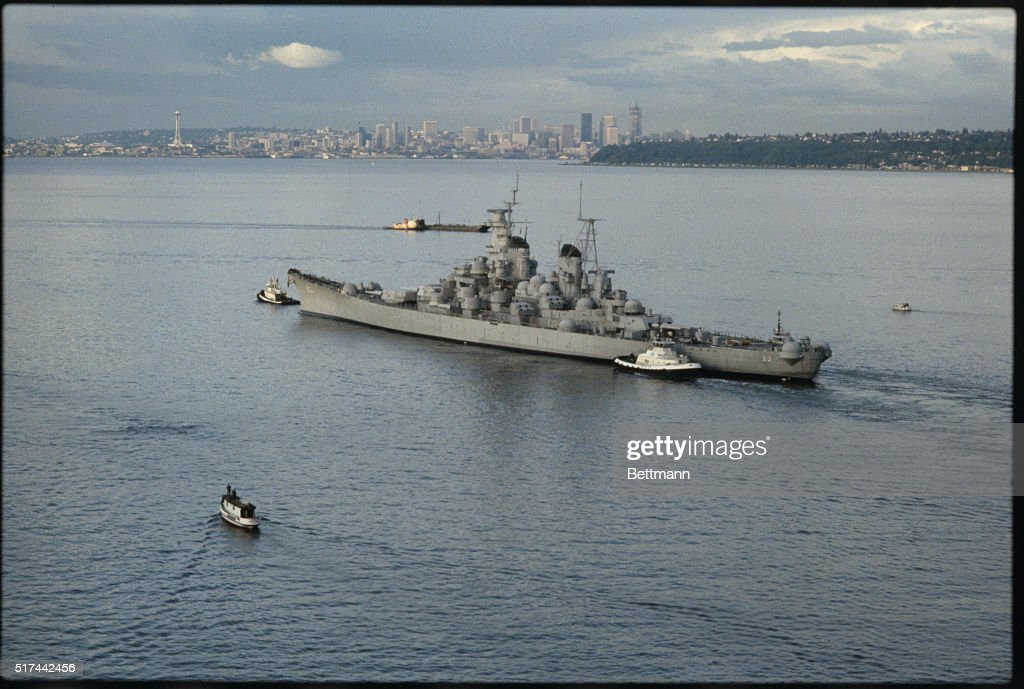 The USS Missouri being towed through the Puget Sound from the Puget Sound Naval Shipyard at Bremerton Washington on its way to Long Beach California...