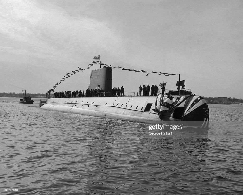 The USS Nautilus is launched at ceremonies here at General Dynamics Corporation's Electric Boat Division shipyard in Groton Connecticut Christened by...