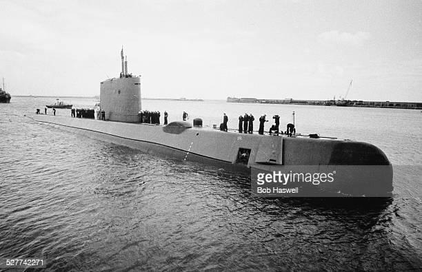 The USS Nautilus submarine at Portland Harbour Dorset 12th August 1958