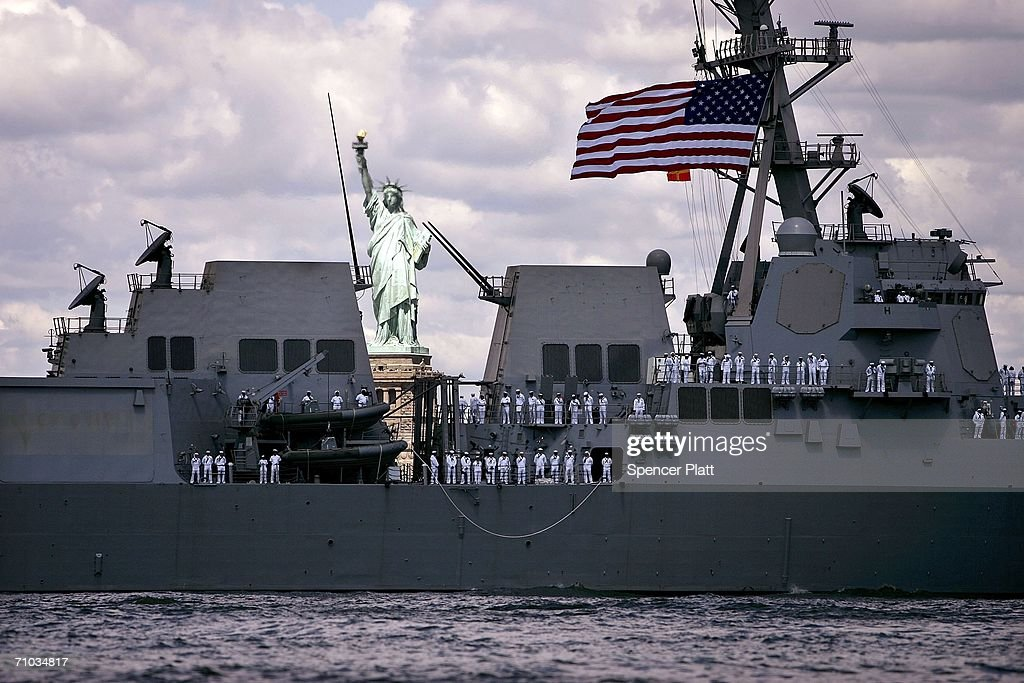 The USS Nitze sails past the Statue of Liberty into New York harbor during Fleet Week May 24, 2006 in New York City. Sailors, Marines, and Coast Guardsmen will sail into New York during the Parade of Ships May 23 that begins the annual Fleet Week.