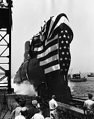 The USS Seawolf the world's second nuclearpowered submarine is launched into the Thames River in Groton Connecticut