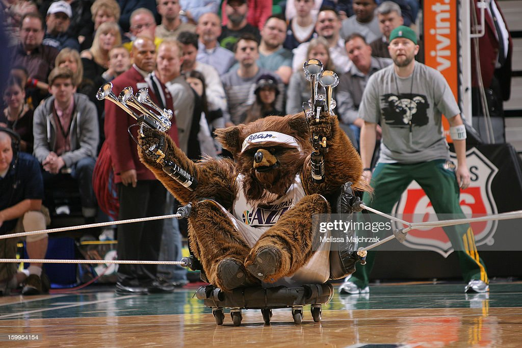 The Utah Jazz Bear performs during a break in play against the Washington Wizards at Energy Solutions Arena on January 23, 2013 in Salt Lake City, Utah.