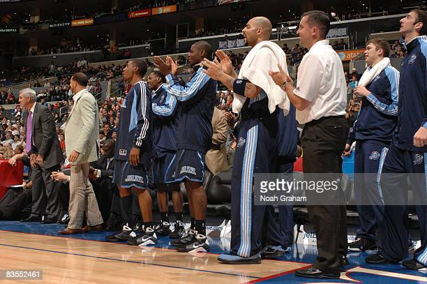 The Utah Jazz bench cheers on their team during the game against the Los Angeles Clippers at Staples Center on November 3 2008 in Los Angeles...