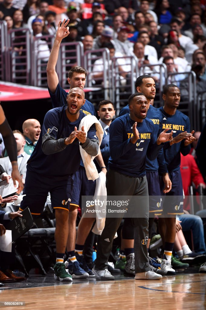 The Utah Jazz celebrate after a teammate scores against the Los Angeles Clippers in Game One of Round One during the 2017 NBA Playoffs on April 15, 2017 at STAPLES Center in Los Angeles, California.