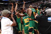 The Utah Jazz celebrate after defeating the Cleveland Cavaliers on January 14 2010 at EnergySolutions Arena in Salt Lake City Utah NOTE TO USER User...