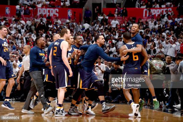 The Utah Jazz celebrate after Joe Johnson of the Utah Jazz hits the game winning shot against the Los Angeles Clippers in Game One of Round One...