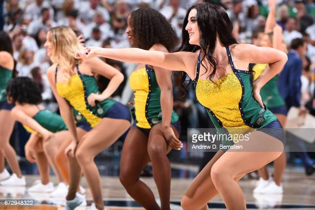 The Utah Jazz dance team performs during Game Four of the Western Conference Quarterfinals against the LA Clippers during the 2017 NBA Playoffs on...