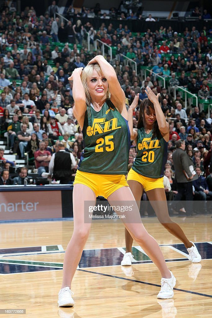 The Utah Jazz dance team performs during halftime of the game against the Atlanta Hawks at Energy Solutions Arena on February 27, 2013 in Salt Lake City, Utah.