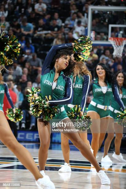 The Utah Jazz dance team performs during the game against the Oklahoma City Thunder on October 21 2017 at vivintSmartHome Arena in Salt Lake City...