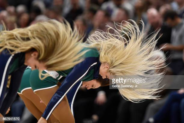The Utah Jazz dance team performs during the game between the Jazz and the Denver Nuggets at Vivint Smart Home Arena on October 18 2017 in Salt Lake...