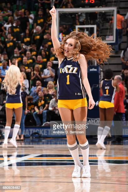 The Utah Jazz dance team performs in Game Three of the Western Conference Semifinals against the Golden State Warriors during the 2017 NBA Playoffs...