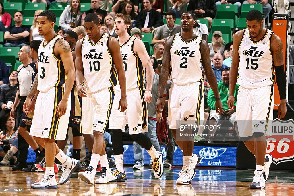 The Utah Jazz during the game against the New Orleans Pelicans at EnergySolutions Arena on April 04, 2014 in Salt Lake City, Utah.