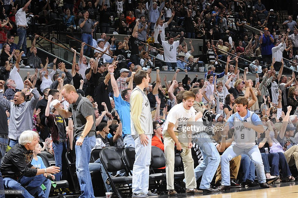 The Utah Jazz fans react to a play during the game against the San Antonio Spurs on March 22, 2013 at the AT&T Center in San Antonio, Texas.