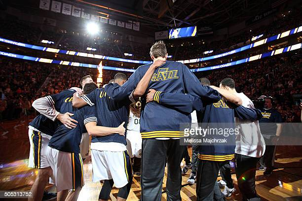 The Utah Jazz huddle up before the game against the Los Angeles Lakers on January 16 2016 at EnergySolutions Arena in Salt Lake City Utah NOTE TO...