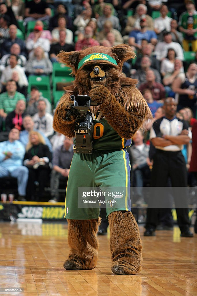 The Utah Jazz mascot, Jazz Bear, performs during the game against the Memphis Grizzlies at Energy Solutions Arena on March 16, 2013 in Salt Lake City, Utah.