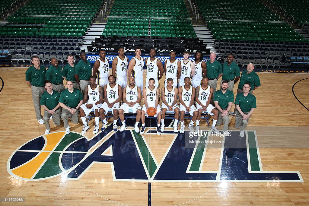 The Utah Jazz pose for their team photo at Energy Solutions Arena on March 19, 2012 in Salt Lake City, Utah.