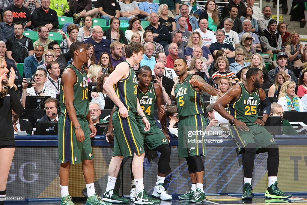 The Utah Jazz wait to check in during the game against the Memphis Grizzlies at Energy Solutions Arena on March 16, 2013 in Salt Lake City, Utah.