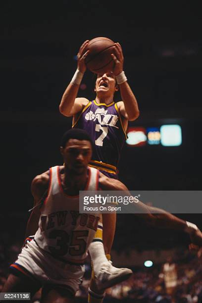 The Utah Jazz's Pete Maravich goes for a layup against the New York Knicks during a game at Madison Square Garden circa 1978 in New York New York