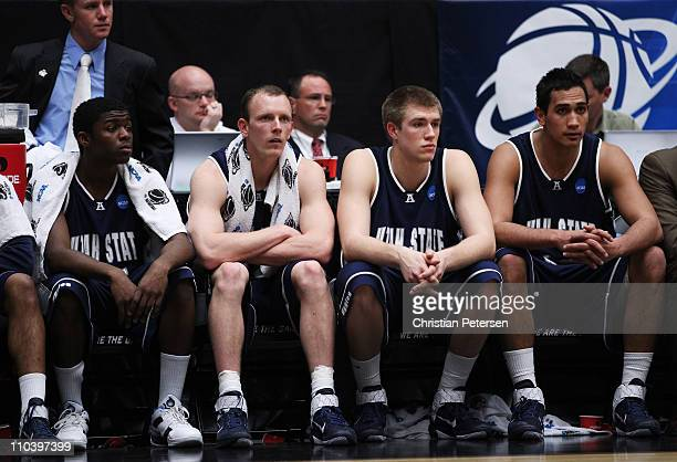 The Utah State Aggies bench looks on during their 68 to 73 loss to the Kansas State Wildcats during the second round of the 2011 NCAA men's...