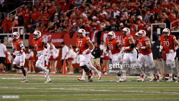 The Utah Utes offense runs into the field during the first half of an college football game against the Stanford Cardinal on October 7 2017 at Rice...