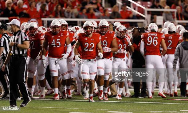 The Utah Utes run into the field during the first half of an college football game against the Stanford Cardinal on October 7 2017 at Rice Eccles...