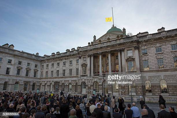 The 'UTOPIA 2016' flag designed by Jeremy Deller and Fraser Muggeridge studio is raised above Somerset House on January 25 2016 in London England The...