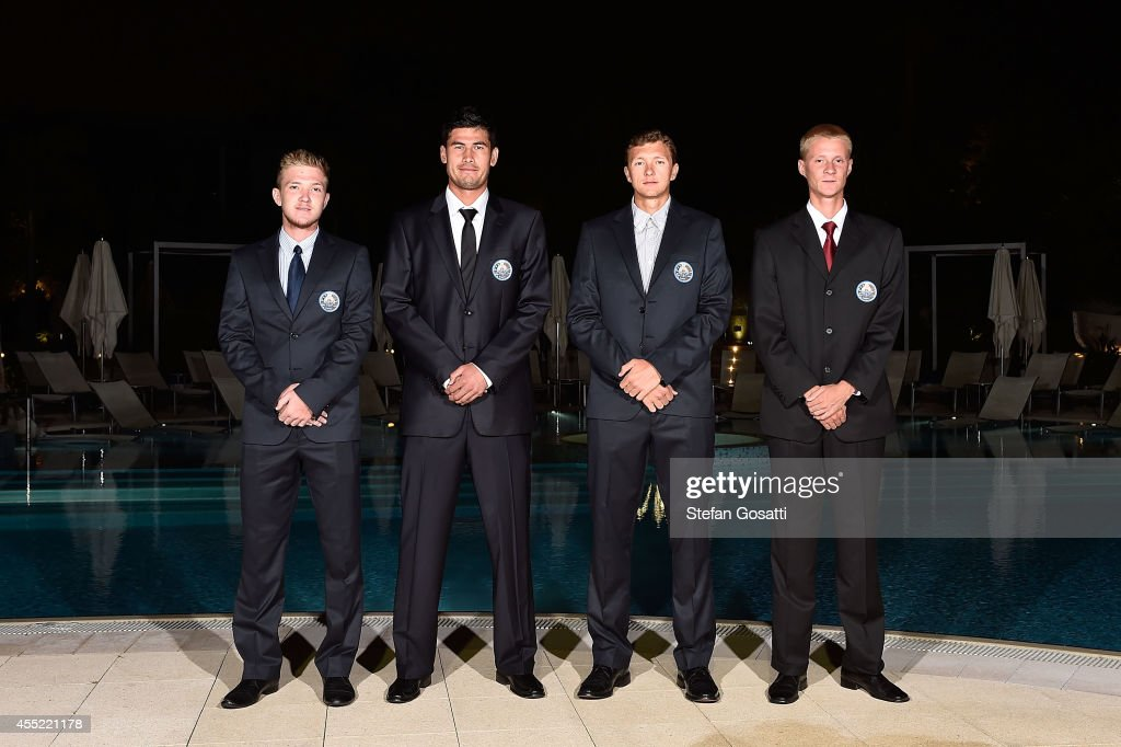 The Uzbekistan Davis Cup team (L-R) Sanjar Fayziev, Farrukh Dustov, <a gi-track='captionPersonalityLinkClicked' href=/galleries/search?phrase=Denis+Istomin&family=editorial&specificpeople=553792 ng-click='$event.stopPropagation()'>Denis Istomin</a> and Temur Ismailov pose during the Official Dinner ahead of the Davis Cup World Group Play-off tie between Australia and Uzbekistan at Crown Metropol on September 10, 2014 in Perth, Australia.