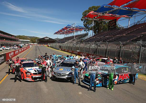 The V8 Supercar drivers pose for a group photo ahead of the V8 Supercars Clipsal 500 at Adelaide Street Circuit on February 25 2015 in Adelaide...