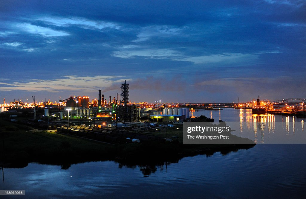 The Valero refinery works glow in the dusk light in Port Arthur, Texas. Port Arthur, Texas is the end of the line for oil that would travel through the proposed Keystone XL Pipeline. (Photo by Michael S. Williamson/The Washington Post via Getty Images